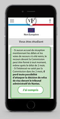 Ecran d'aide et de conseil pour l'obetention du Visa pour la France