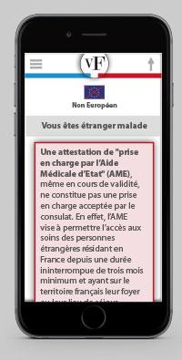 Ecrans d'alerte d'aide et de conseil pour l'obetention du Visa pour la France
